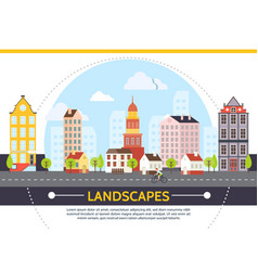 flat summer cityscape template vector image vector image