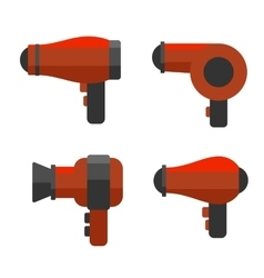 Hairdryer Icon Set on White Background vector image vector image
