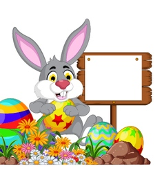 Rabbit with Easter egg and blank sign vector image vector image