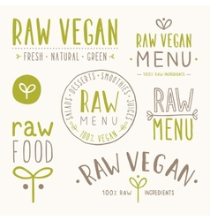 Raw vegan badges vector image vector image