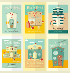 beach huts posters vector image