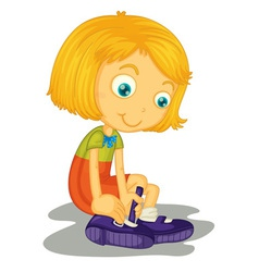 Girl buckles shoes vector image vector image