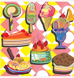 ice-cream on pink yellow background vector image