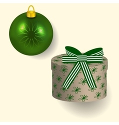 in green colors Christmas gift vector image