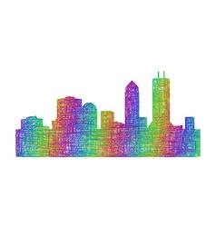 Jacksonville skyline silhouette - line art vector image