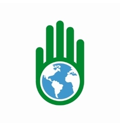Logo combination of a hand and earth vector image vector image