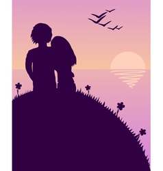 lovers glazing sunset vector image