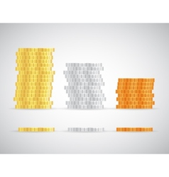 Stacks of coins Gold silver and copper template vector image vector image