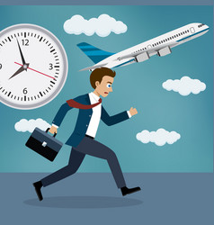 businessman running behind a plane vector image vector image