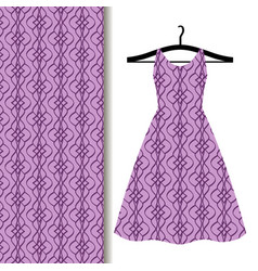 dress fabric with purple geometric pattern vector image vector image