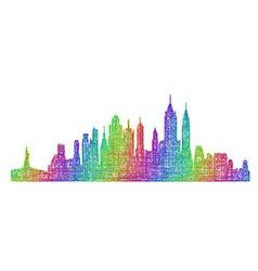 New York City skyline - multicolor line art vector image vector image