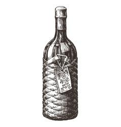 retro wine bottle logo design template vector image