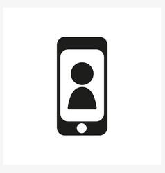 smartphone icon in simple black design vector image