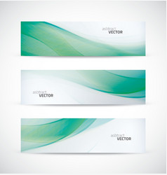 Three abstract green ecology wave banner header vector image