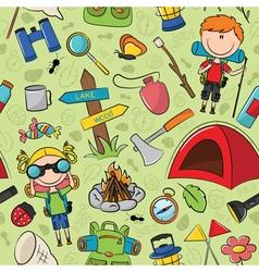 tourist children colorful pattern vector image