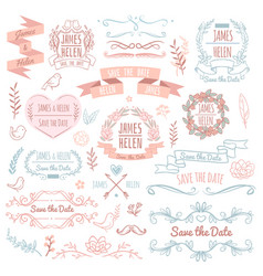wedding retro elements for invitation card vector image