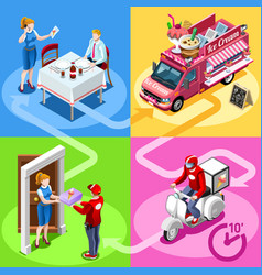 food truck ice cream cart home delivery isometric vector image