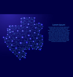 Map of gabon from polygonal blue lines and glowing vector