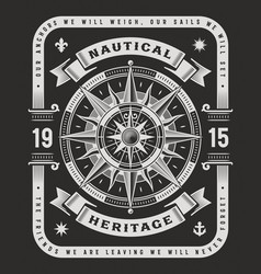 nautical heritage typography on black background vector image vector image