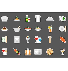 Restaurant food stickers set vector image