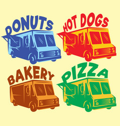 set of colored foodtrucks with different vector image