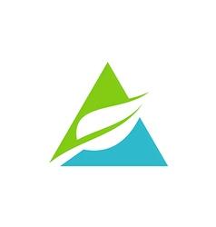 triangle green leaf pyramid logo vector image vector image