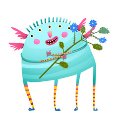 weird monster holding flowers happy congratulating vector image vector image