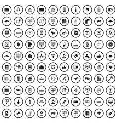 100 communication icons set simple style vector