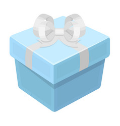 A blue gift box with a bowgifts and certificates vector