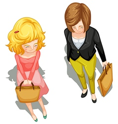 A topview of a little girl and a woman vector