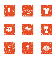 Amateur icons set grunge style vector