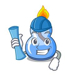Architect alcohol burner character cartoon vector