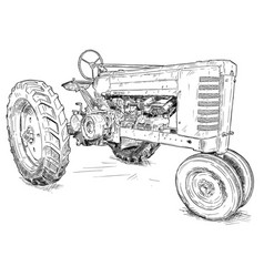 Artistic drawing of old tractor vector