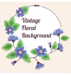 Background with round floral banner vintage vector image