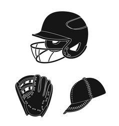 baseball and attributes black icons in set vector image