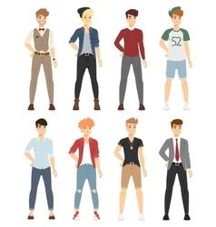 Beautiful cartoon fashion boy models look vector