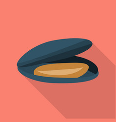 Black mussel icon flat style vector