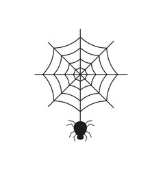 Black spider on the spider web icon helloween vector