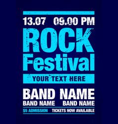 blue rock festival flyer design template vector image
