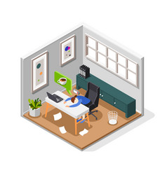 burnout syndrome isometric composition vector image