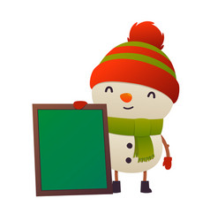 cartoon cute snowman with message board isolated vector image