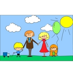 Cartoon Family on background vector image