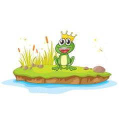 Cartoon King Frog vector image vector image