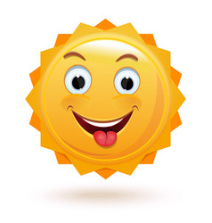 Cheerful anthropomorphic sun isolated on white vector