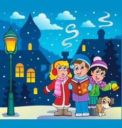 Christmas carol singers theme 3 vector