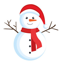 Christmas snowman kawaii character vector