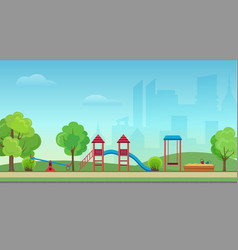 city public park with kids playground on vector image