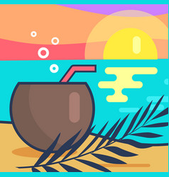 Cocktail and sunset beach vector