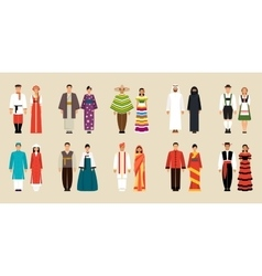 Collection of national costumes vector