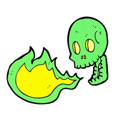 Comic cartoon fire breathing skull vector